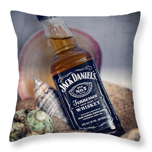Whiskey Throw Pillow featuring the photograph Jack At The Beach by Ella Kaye Dickey