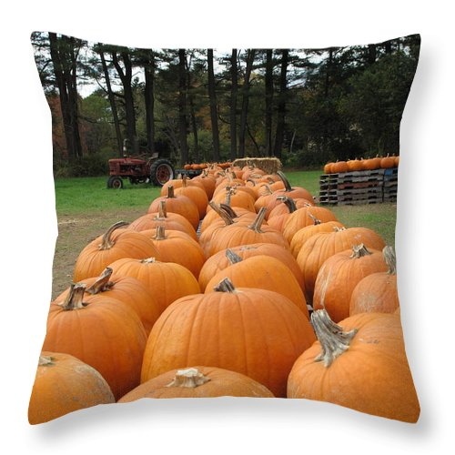 Pumpkins Throw Pillow featuring the photograph Jack O Lanterns In Waiting by Barbara McDevitt