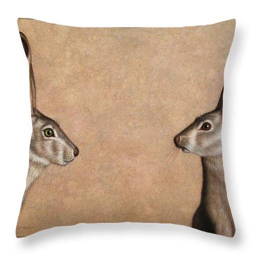 Jackrabbit Throw Pillow featuring the painting Jackrabbits by James W Johnson