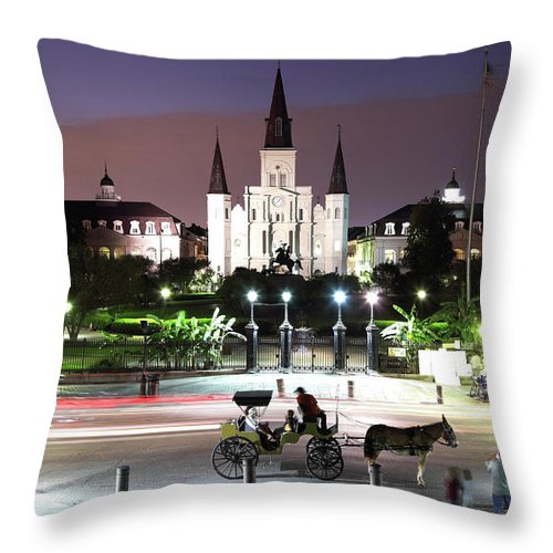 Southern Usa Throw Pillow featuring the photograph Jackson Square by Denistangneyjr