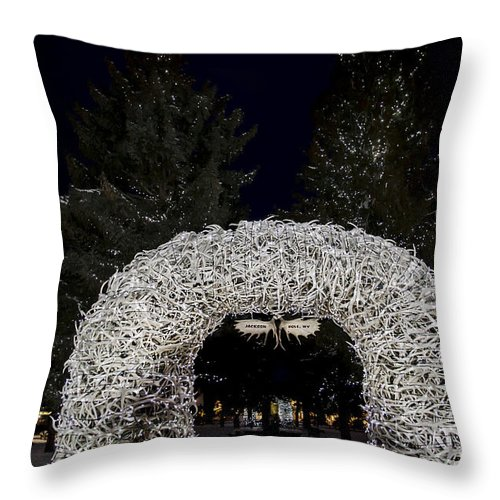 Jackson Town Square Throw Pillow featuring the photograph Jackson Town Square by Wildlife Fine Art