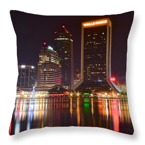 Jacksonville Throw Pillow featuring the photograph Jacksonville Aglow by Frozen in Time Fine Art Photography