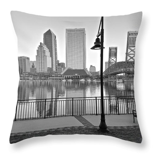 Jacksonville Throw Pillow featuring the photograph Jacksonville Black And White Ay by Frozen in Time Fine Art Photography