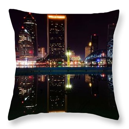 Jacksonville Throw Pillow featuring the photograph Jacksonville Panoramic by Frozen in Time Fine Art Photography