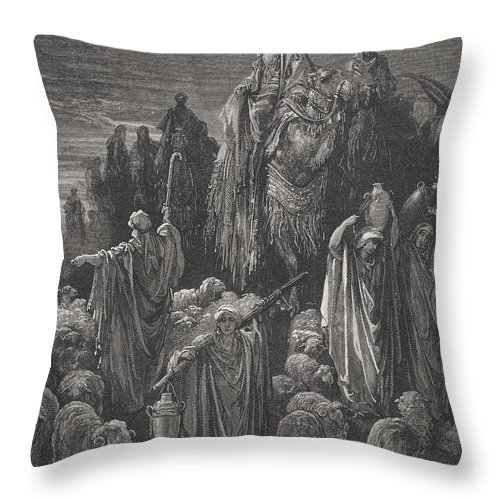 Famine Throw Pillow featuring the painting Jacob Goeth Into Egypt by Gustave Dore