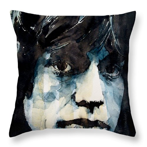 Mick Jagger Throw Pillow featuring the painting Jagger no3 by Paul Lovering