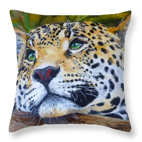Big Cat Throw Pillow featuring the painting Jaguar Big Cat Original Oil Painting Hand Painted 8 X 10 By Pigatopia by Shannon Ivins