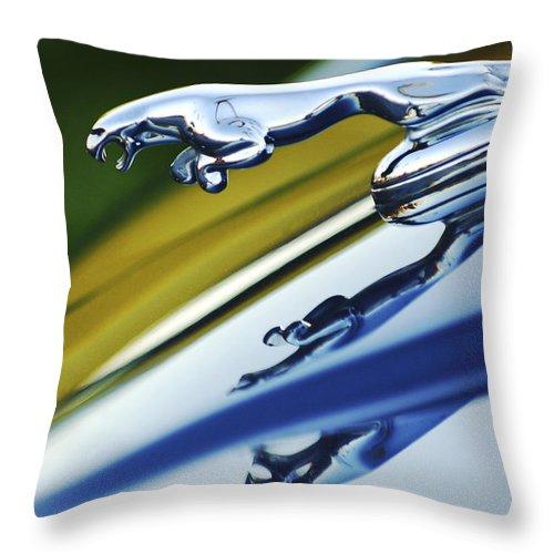Car Throw Pillow featuring the photograph Jaguar Car Hood Ornament by Jill Reger