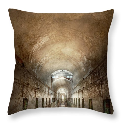 Jail Throw Pillow featuring the photograph Jail - Eastern State Penitentiary - End Of A Journey by Mike Savad