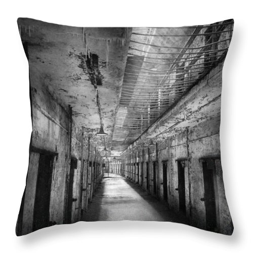 Jail Throw Pillow featuring the photograph Jail - Eastern State Penitentiary - The Forgotten Ones by Mike Savad