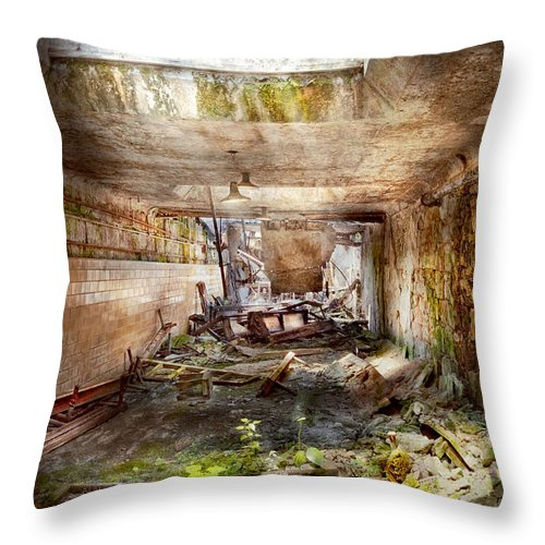 Jail Throw Pillow featuring the photograph Jail - Eastern State Penitentiary - The Mess Hall by Mike Savad