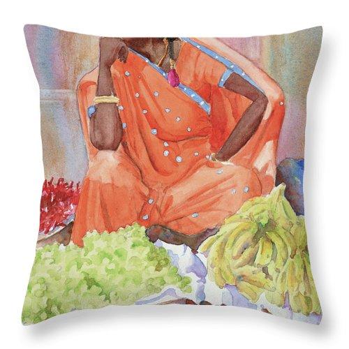 Street Vendor Throw Pillow featuring the painting Jaipur Street Vendor by John Dougan