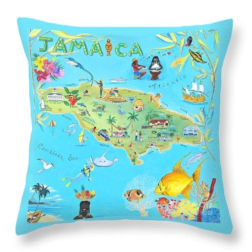 Jamaica Paintings Throw Pillow featuring the painting Jamaica by Virginia Ann Hemingson