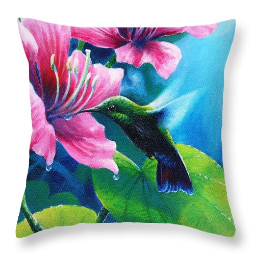 Chris Cox Throw Pillow featuring the painting Antillean Mango by Christopher Cox