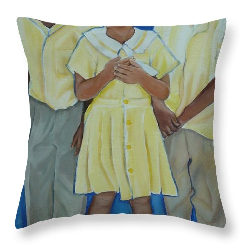 Jamaica Throw Pillow featuring the painting Jamaican Sunshine by Sheila Diemert