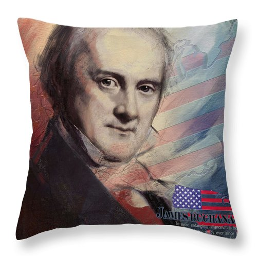 James Buchanan Throw Pillow featuring the painting James Buchanan by Corporate Art Task Force