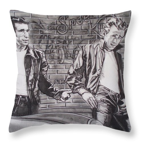 Americana Throw Pillow featuring the drawing James Dean Meets The Fonz by Sean Connolly