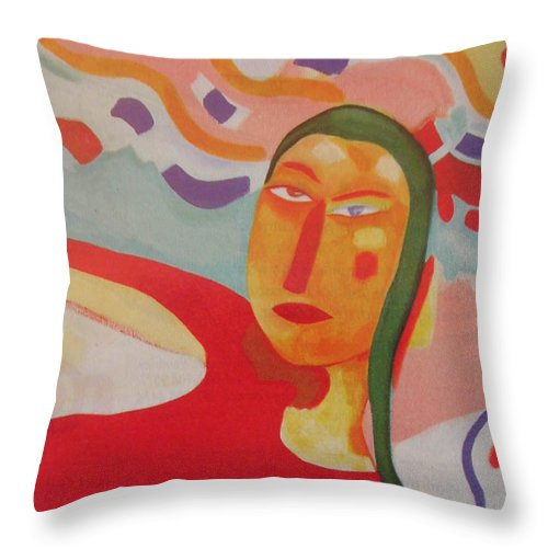 Girl With Red Top Throw Pillow featuring the painting Jane by Jelila