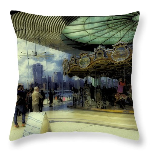 Carousel Throw Pillow featuring the photograph Jane's Carousel 3 In Dumbo by Madeline Ellis