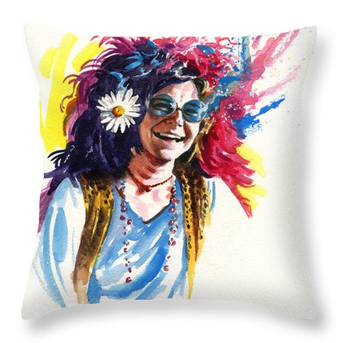 Janis Joplin Throw Pillow featuring the painting Janis by Ken Meyer jr