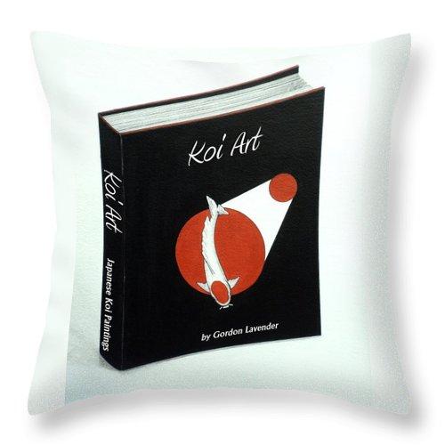 Koi.carp.fish. Asian. China .japanese. Kohaku. Ogon Throw Pillow featuring the painting Japanese Book Of Koi Paintings By Gordon Lavender by Gordon Lavender