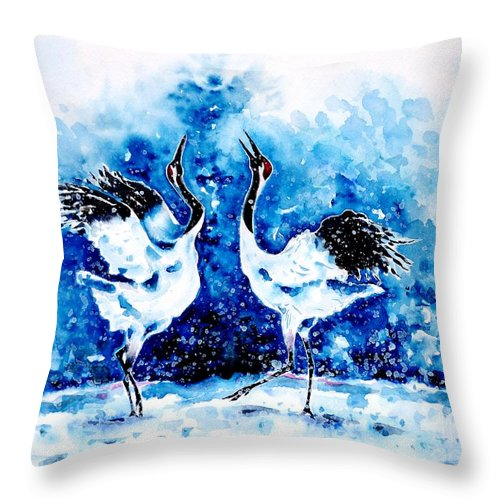 Japanese Throw Pillow featuring the painting Japanese Cranes by Zaira Dzhaubaeva