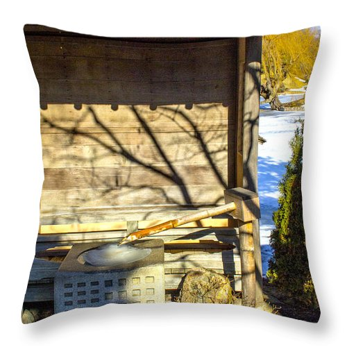 Japanese Throw Pillow featuring the photograph Japanese Fountain by Robert Storost