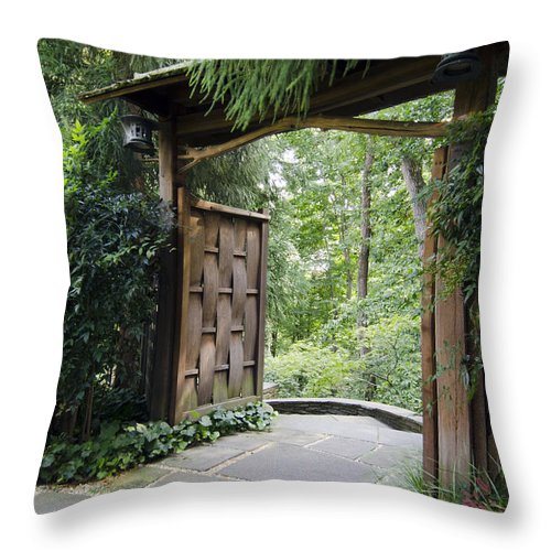 Door Throw Pillow featuring the photograph Japanese Garden Gate by Terri Winkler
