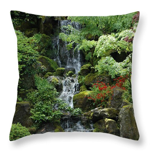 Japanese Throw Pillow featuring the photograph Japanese Garden Waterfall Portland Oregon by Mike Nellums