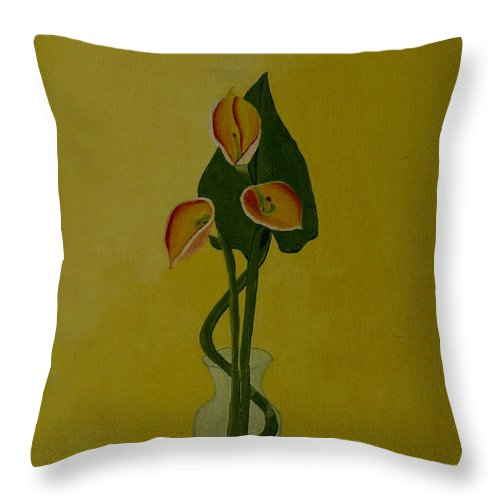 Japan Throw Pillow featuring the painting Japanese Ikebana Arrangement by Anthony Dunphy