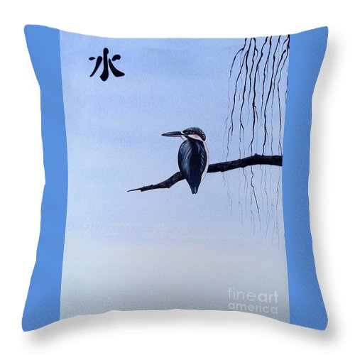 Japanese Throw Pillow featuring the painting Japanese Kawasemi Kingfisher Feng Shui Water by Gordon Lavender