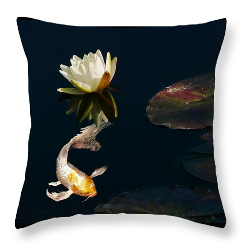Koi Throw Pillow featuring the photograph Japanese Koi Fish And Water Lily Flower by Jennie Marie Schell