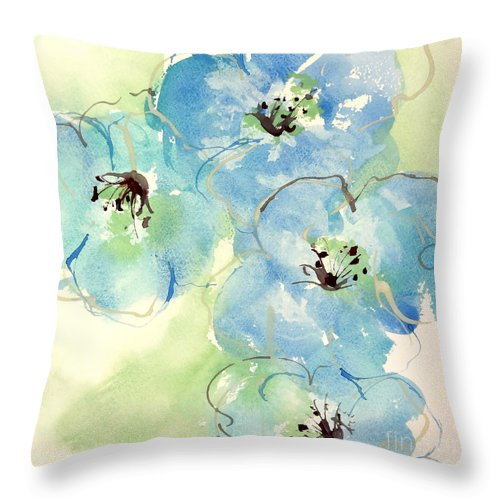 Original Watercolors Throw Pillow featuring the painting Japanese Quince 1 by Chris Paschke