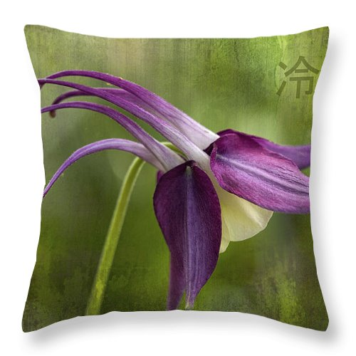 Columbine Throw Pillow featuring the photograph Japanese Serenity Columbine Blossom by Kathy Clark