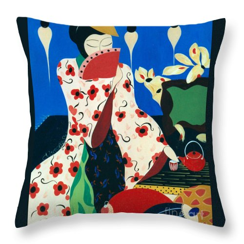 #japanese Throw Pillow featuring the painting Japanese Tea by Jacquelinemari