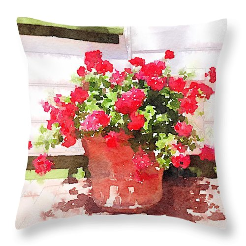 Waterlogue Throw Pillow featuring the digital art Jardines by Shannon Grissom