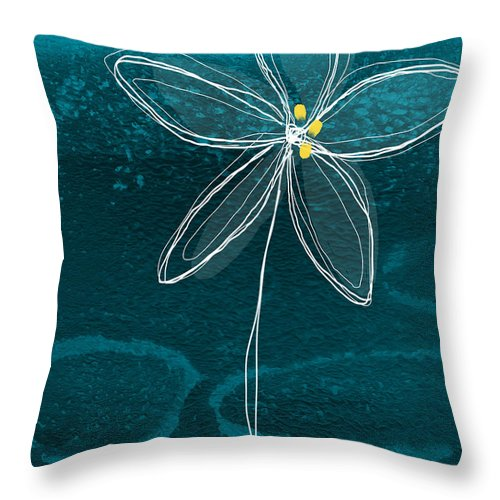 Abstract Throw Pillow featuring the painting Jasmine Flower by Linda Woods