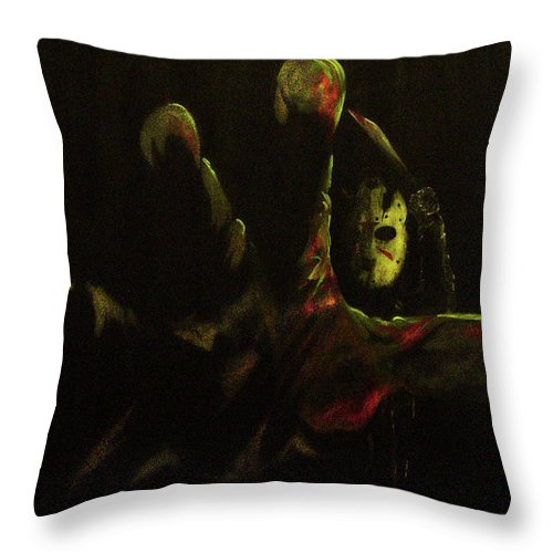 Friday The 13th Throw Pillow featuring the painting Jason by Phillip Rangel