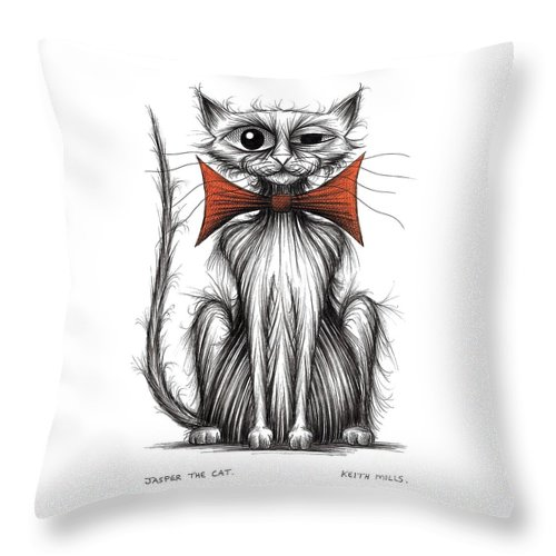 Cat Throw Pillow featuring the drawing Jasper The Cat by Keith Mills