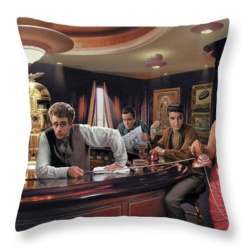 Marilyn Monroe Throw Pillow featuring the painting Java Dreams by Chris Consani