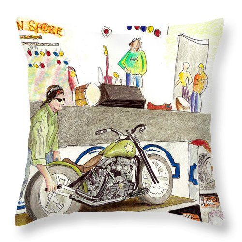 Jay Allen Throw Pillow featuring the painting Jay Allen At The Broken Spoke Saloon by Albert Puskaric