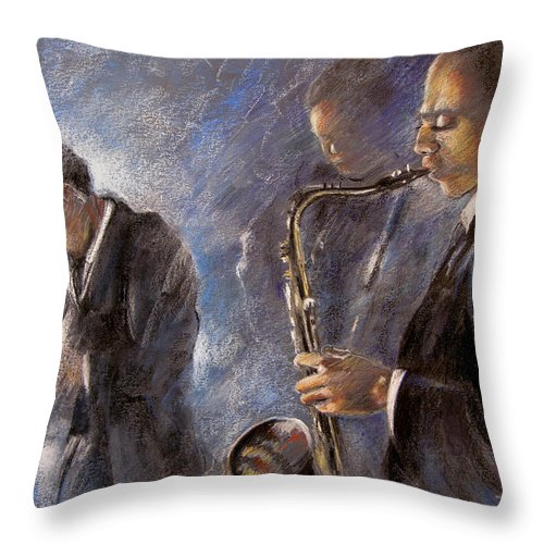 Jazz Throw Pillow featuring the painting Jazz 01 by Miki De Goodaboom