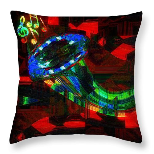 Horn Throw Pillow featuring the painting Jazz At Midnight by RC DeWinter