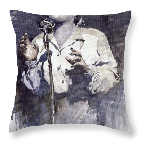 Billie Holiday Throw Pillow featuring the painting Jazz Billie Holiday Lady Sings The Blues by Yuriy Shevchuk