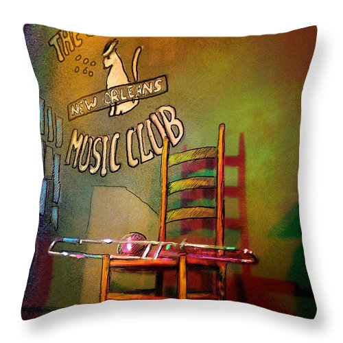 Jazz Throw Pillow featuring the painting Jazz Break In New Orleans by Miki De Goodaboom