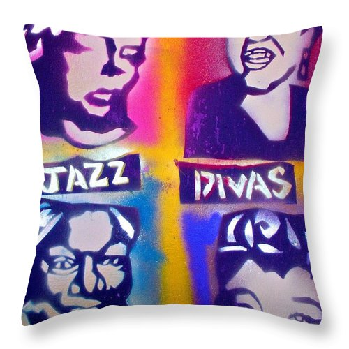Jazz Throw Pillow featuring the painting Jazz Divas by Tony B Conscious