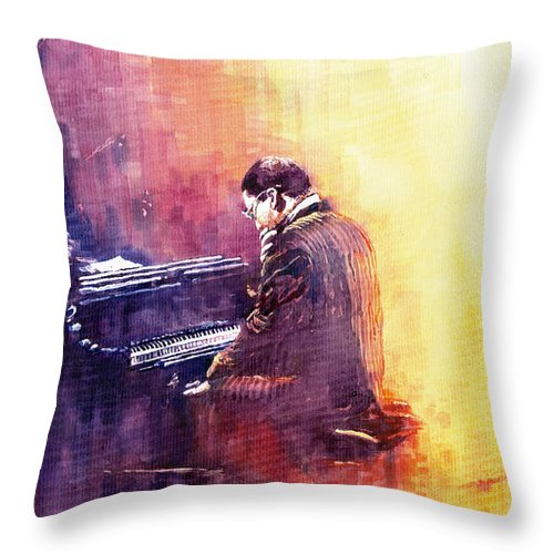 Jazz Throw Pillow featuring the painting Jazz Herbie Hancock by Yuriy Shevchuk