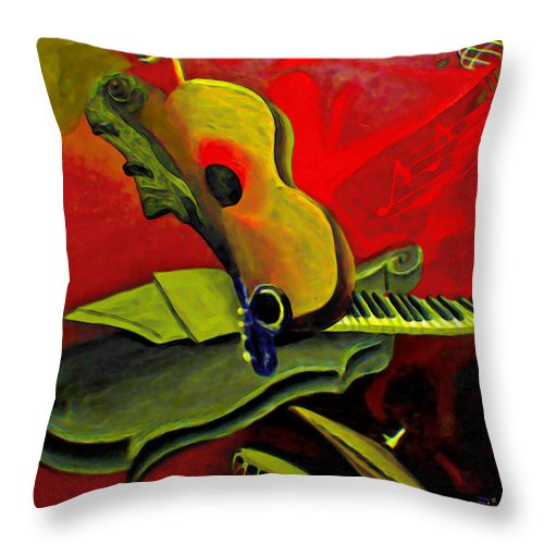 Abstract Throw Pillow featuring the painting Jazz Infusion by Fli Art