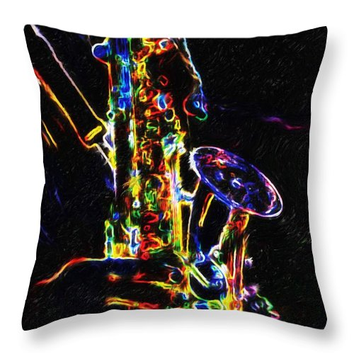 Saxophone Throw Pillow featuring the painting Jazz Lights by Joseph A Newton