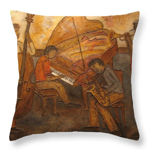 Impressionist Throw Pillow featuring the painting Jazz Quartet by Anita Burgermeister
